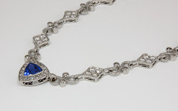14KW Diamond and Trillion Cut Tanzanite Necklace