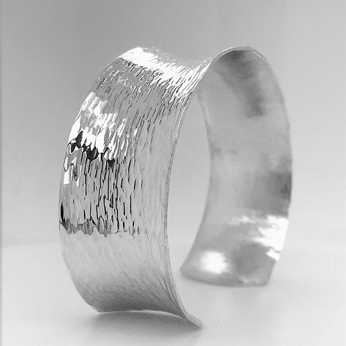 Sterling Silver Concave Hammered Bracelet - Wide