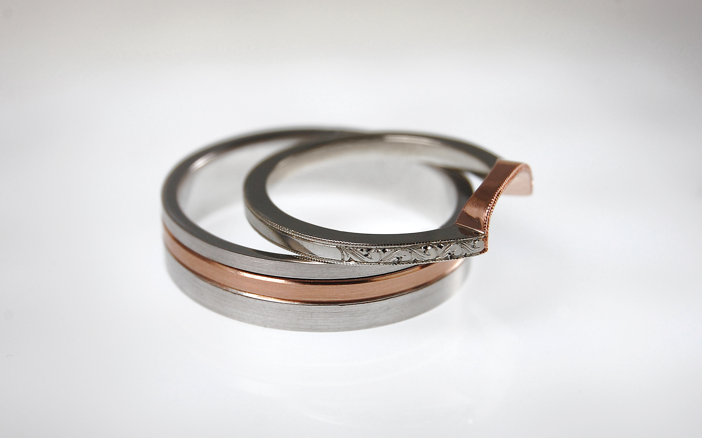 White & Rose Gold Bands