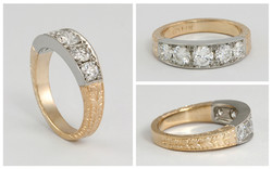 14KTT 5 Diamond Hand Engraved Band