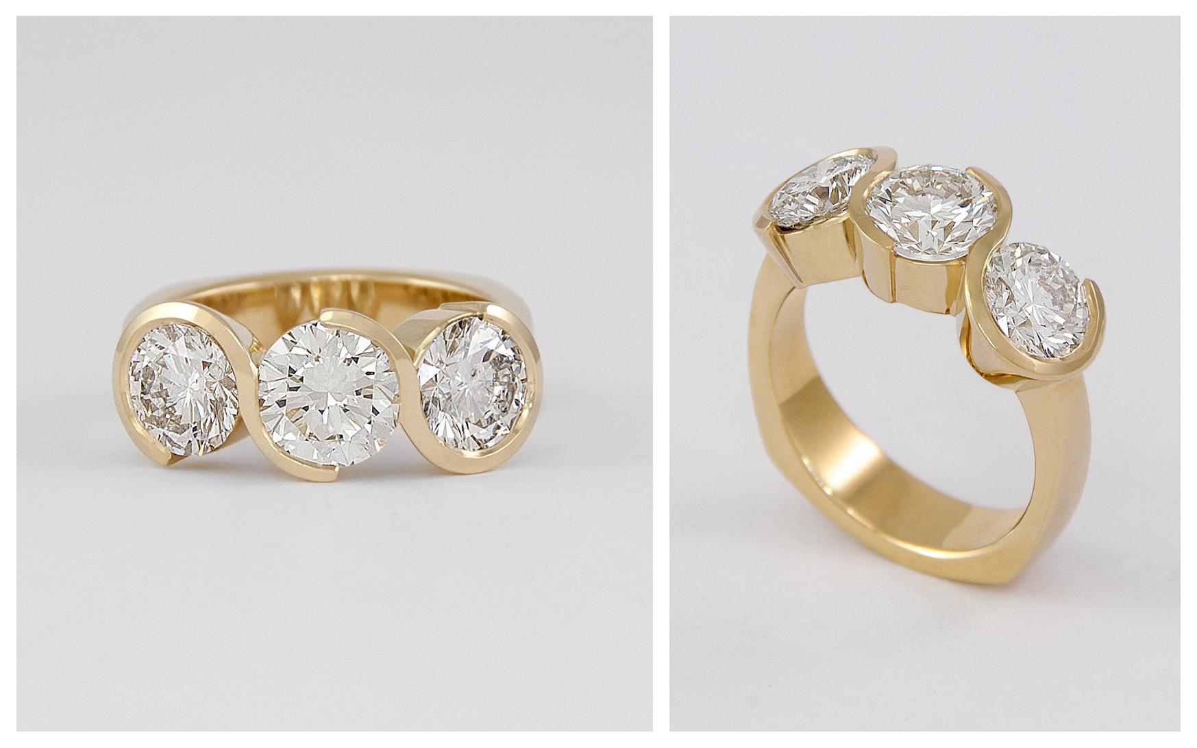 3.5 carat total 3 Stone Swirl Ring