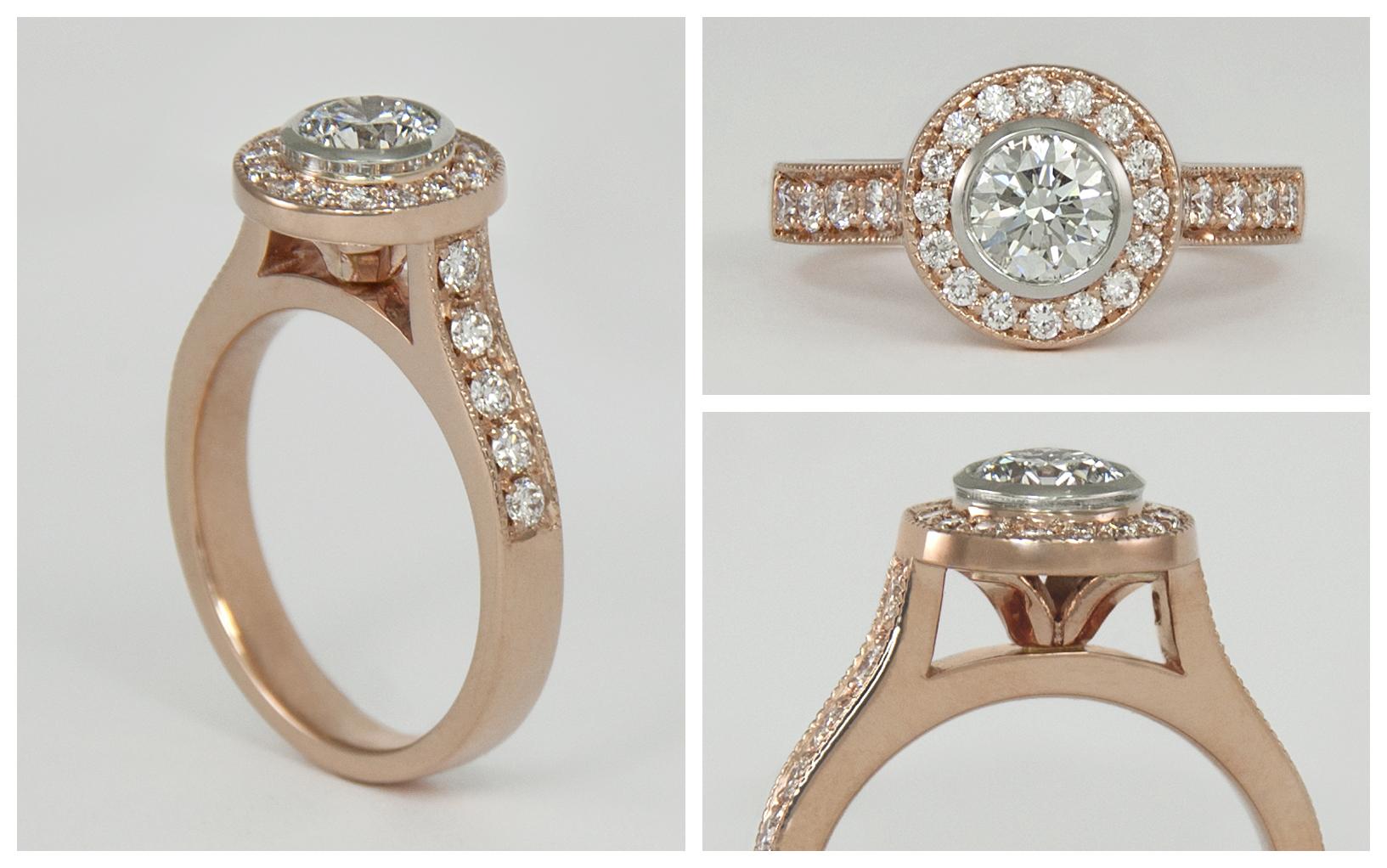 14KR Diamond Halo Ring with 14KW Bezel