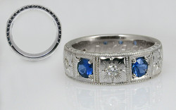 Sapphire & Diamond Hand Engraved