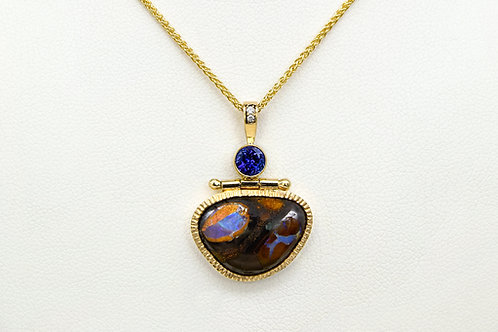 14KY Freeform Boulder Opal Pendant with Tanzanite