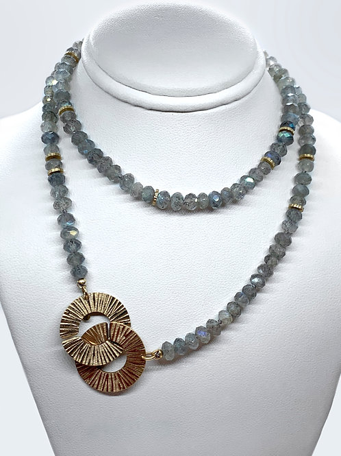 """Labradorite and 14K Yellow Gold 22"""" Necklace or Wrap Bracelet"""