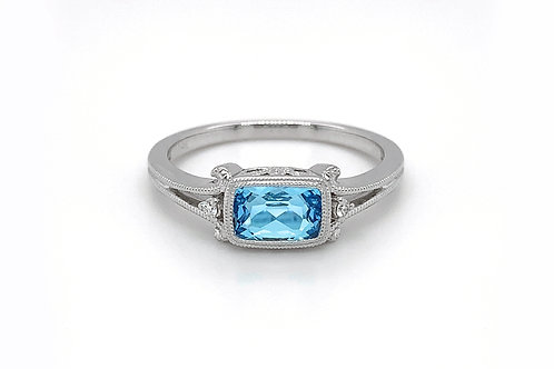 14KW Checkerboard Cut Blue Topaz Ring with Diamond Accent