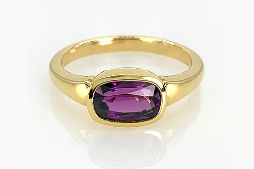 14KY Bezel Set Purple Garnet Ring
