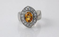 Oval Yellow Sapphire & Diamond Halo
