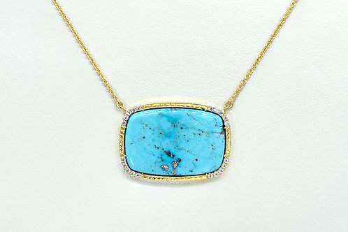 14KY Turquoise Pendant With Diamond Accent