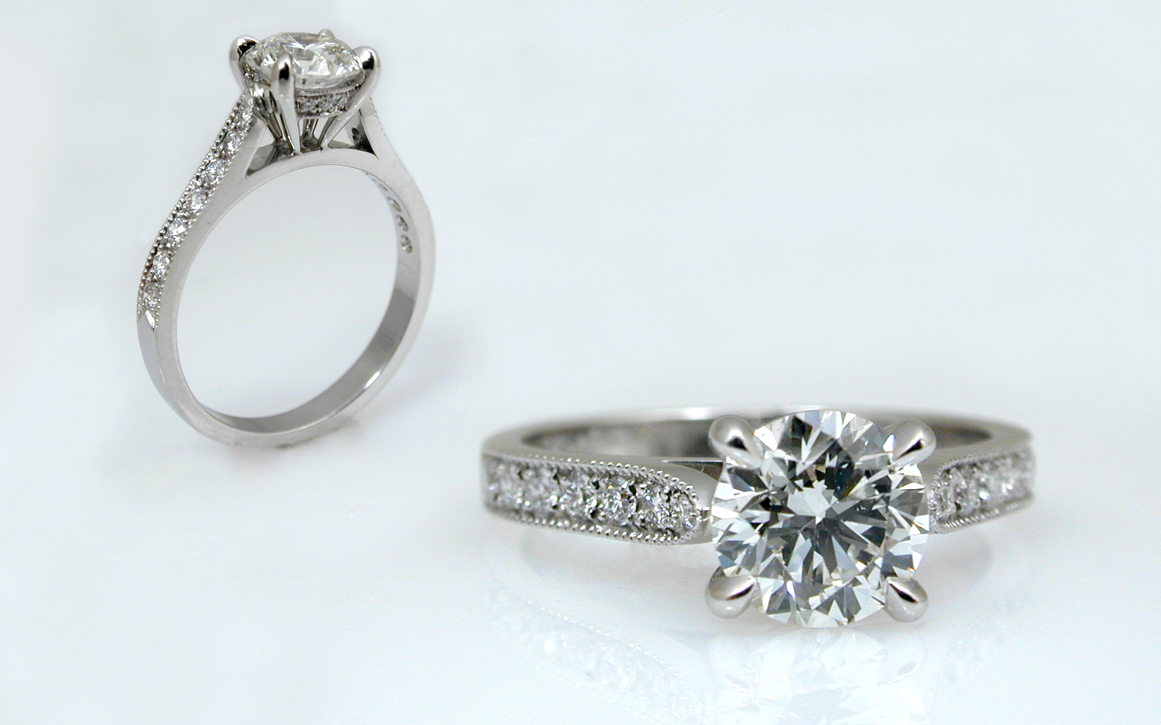 Hand Fabricated .90 carat with Diamond Accented Band and Gallery Wires