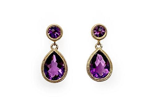 14KY Bezel Set Amethyst Drop Earrings