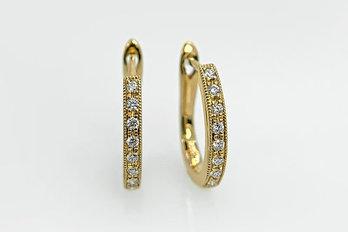 14KY Diamond Huggie Hoop Earrings