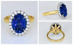 14KTT Sapphire and Diamond Ring