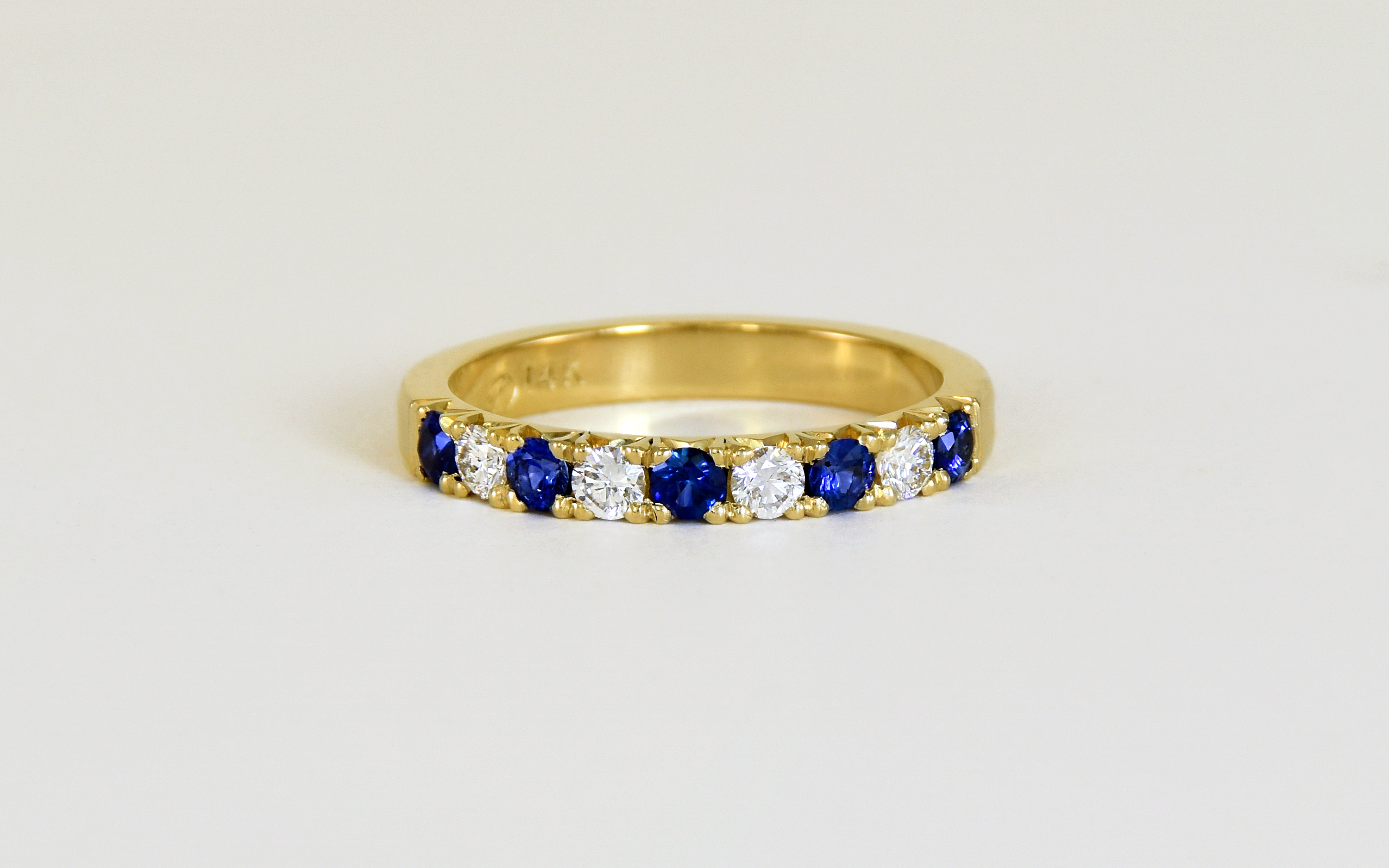 14KY Sapphire Diamond Band
