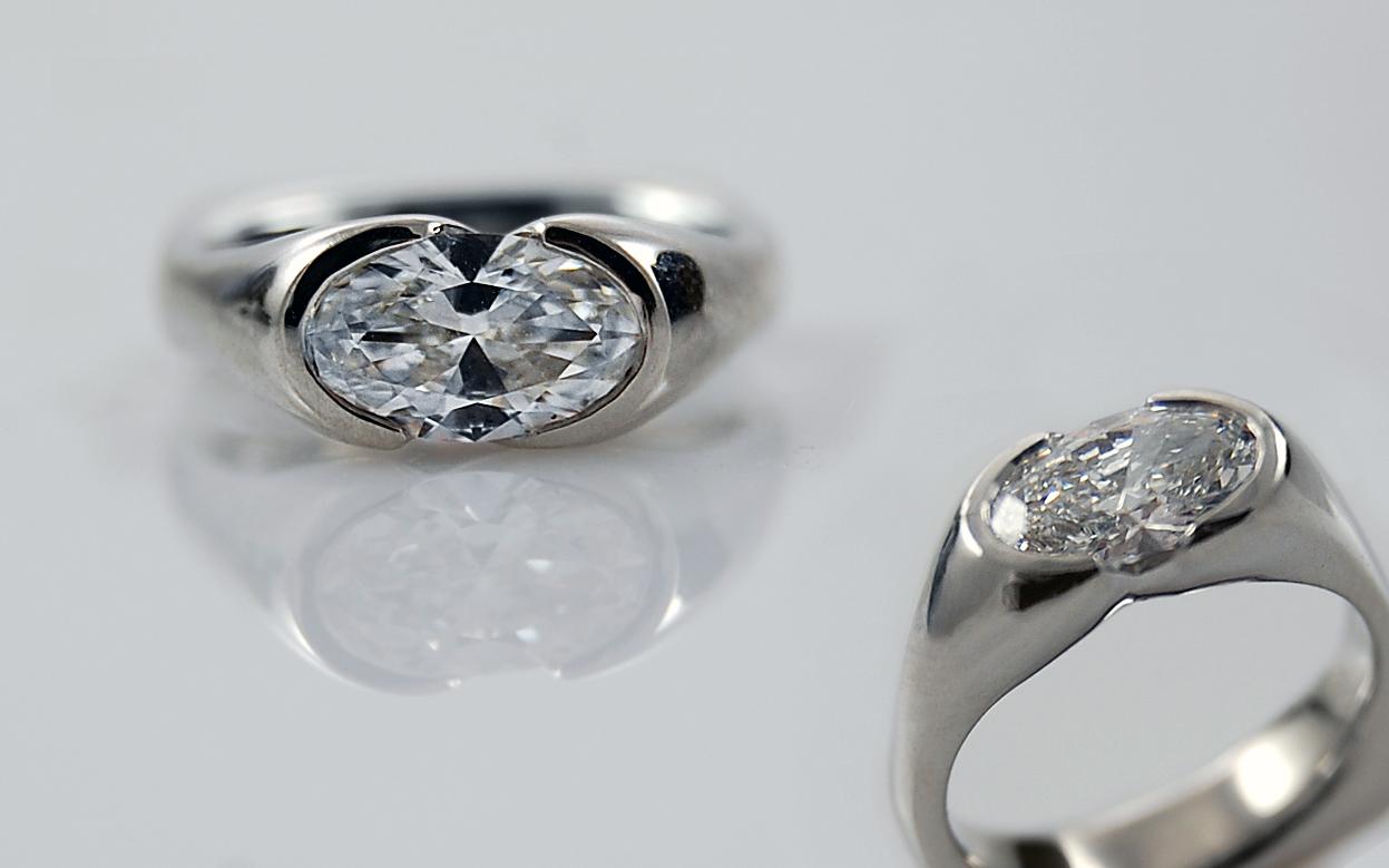 Platinum 1.04 carat Oval Bezel with Balance Fit Band
