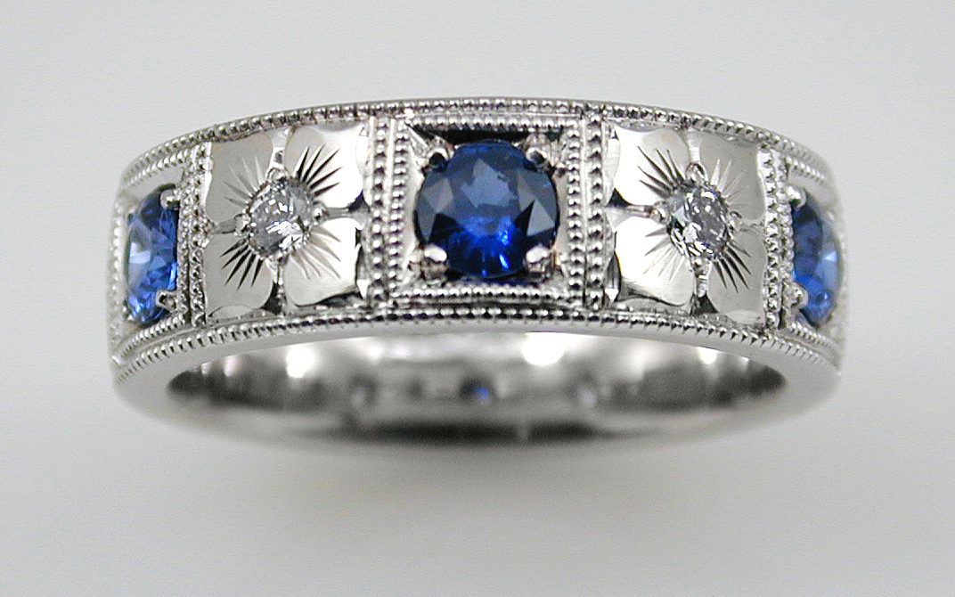 Sapphire & Diamond with Hand Engraved Flowers
