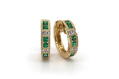 14KY Emerald and Diamond Huggie Hoop Earrings
