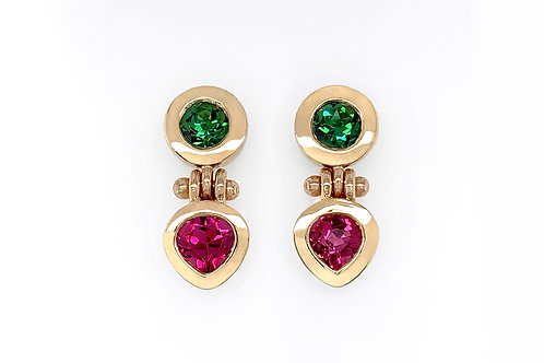 14KY Pink and Green Tourmaline Bezel Earrings