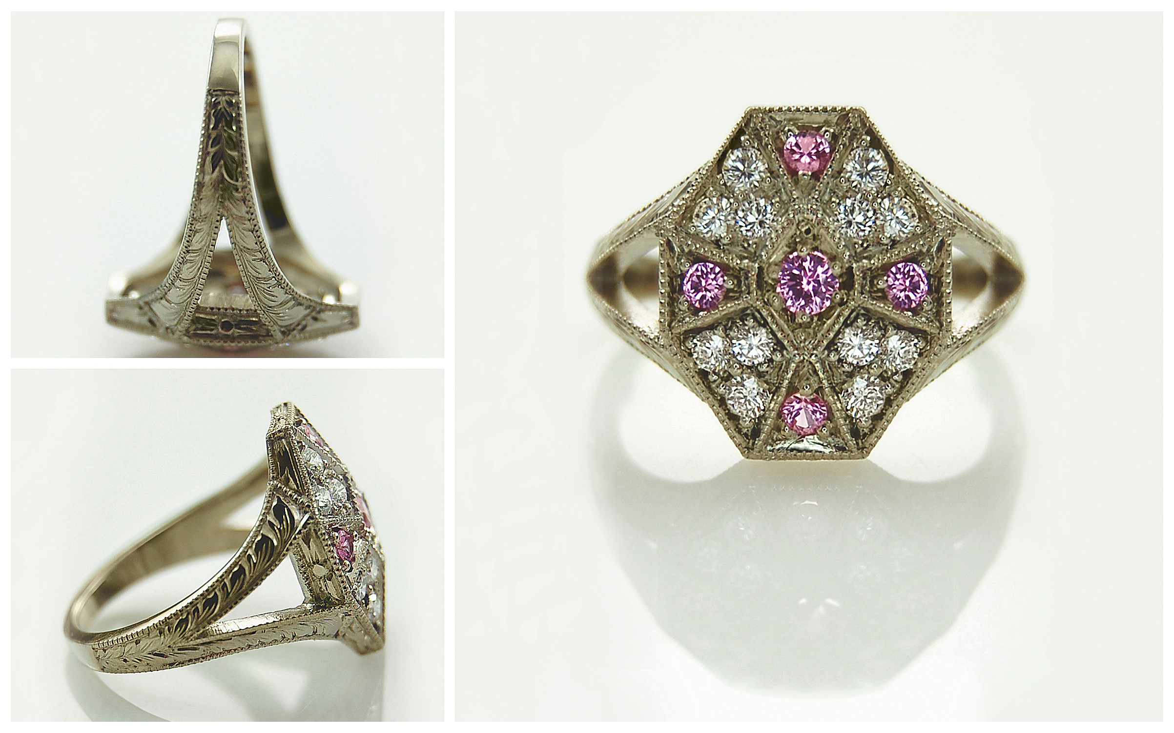 Vintage Style Pink Sapphire & Diamond Hand Engraved