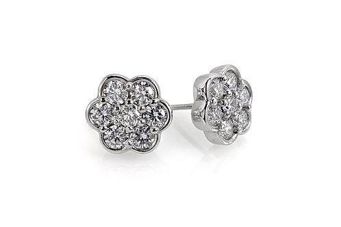 14KW Diamond Flower Cluster Earrings