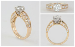 14K & Platinum .95CT Center with .67CT Accent
