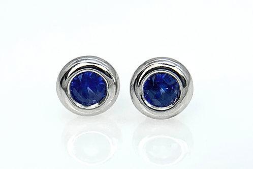 14KW Sapphire Doughnut Bezel Earrings