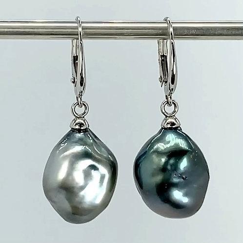 14KW Tahitian Pearl Dangle Earrings