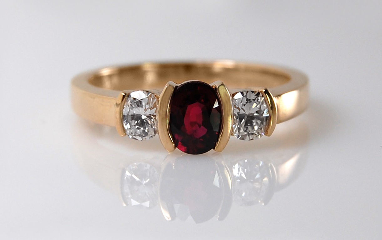 Oval Ruby & Diamond Semi Bezel