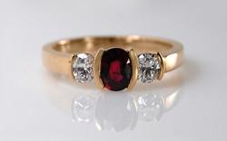 Oval Ruby & Diamond Semi Bezel