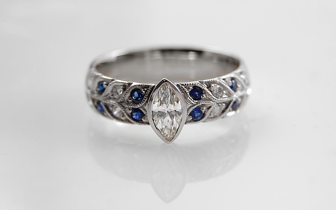 Marquise Diamond with Double Row Bead Set Sapphire & Diamond Band