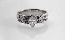 Marquise Diamond with Double Row Bead Set Sapphire & Diamond Band