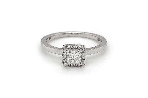 18KW Princess Cut Diamond Ring with Halo