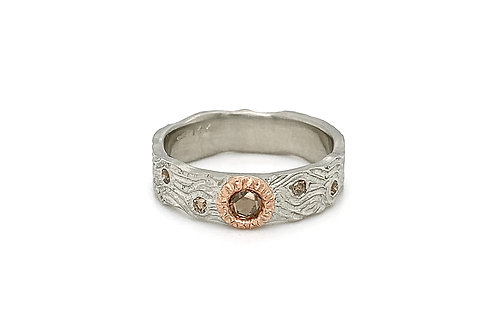 14KW/R Natural Fancy Brown Diamond Ring with Rose Bezel