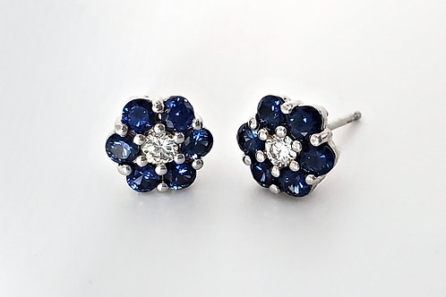 14KW Sapphire and Diamond Cluster Earrings