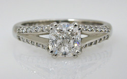 Cushion Cut with Diamond Set Split Shank