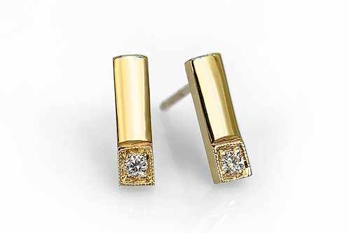 14KY Matchstick Earrings with Diamonds