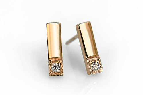 14KR Matchstick Earrings with Diamonds