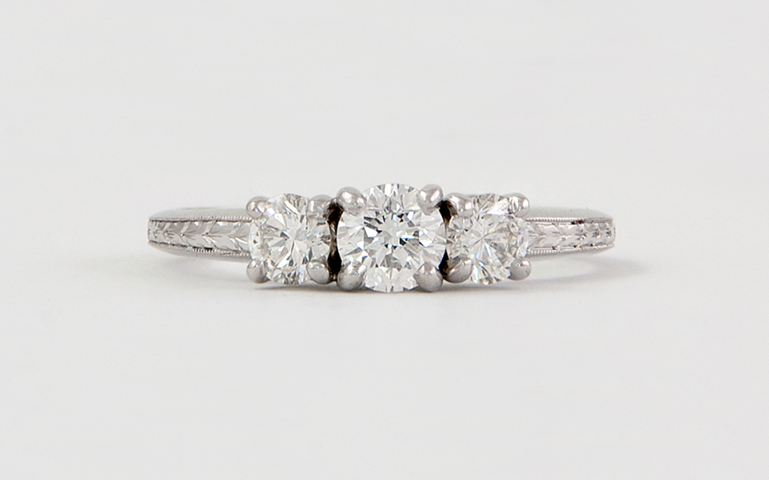 14KW .88CTW Hand Engraved Diamond Engagement Ring