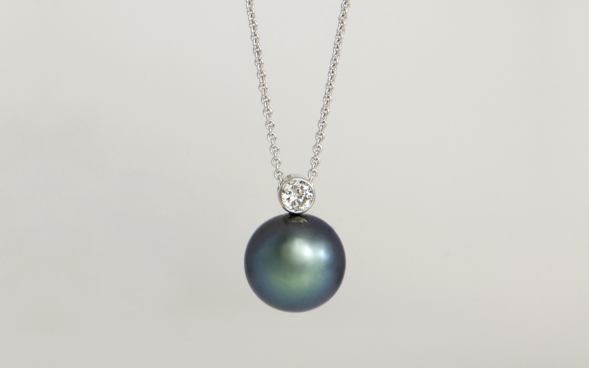 14KW Tahitian Pearl and Diamond Bezel Pendant