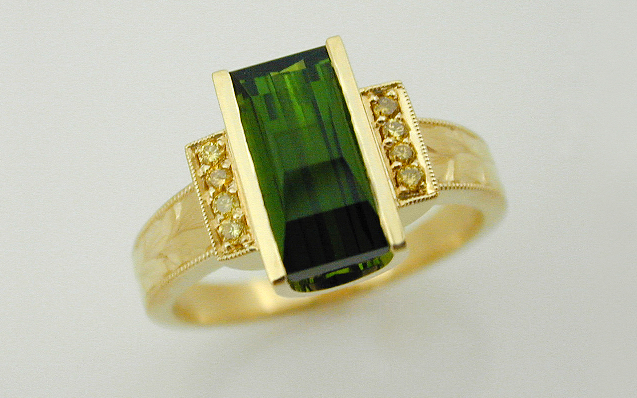 Hand Engraved Opposed Bar Cut Tourmaline & Natural Fancy Yellow Diamond