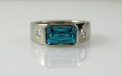 Blue Zircon with Flush Set Diamonds
