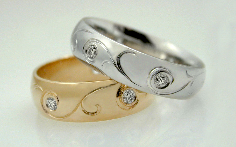 14K Diamond Engraved Bands