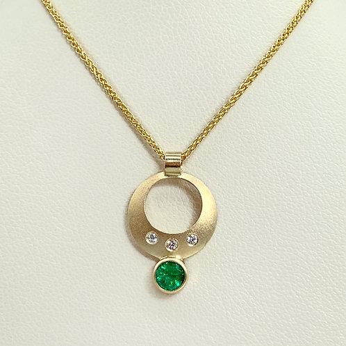 14KY Emerald and Diamond Pendant