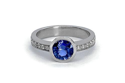 14KW Bezel Set Ceylon Sapphire Ring