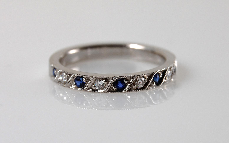 Sapphire & Diamond Bead Set Band
