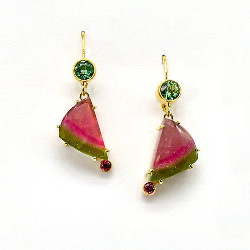 14KY Custom Made Watermelon Tourmaline, Mint Tourmaline and Pink Spinel Earrings