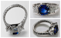 Hand Fabricated Cushion Cut Sapphire & D
