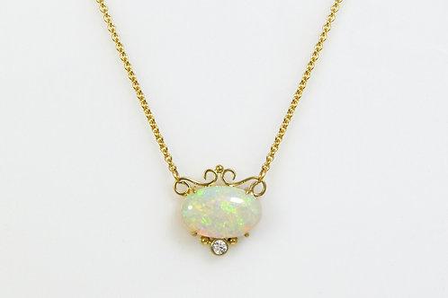 14KY Hand Fabricated Opal Pendant