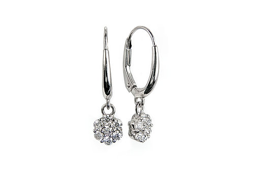 Diamond Cluster Leverback Earrings