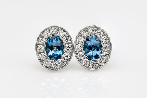 14KW Oval Aquamarine and Diamond Halo Stud Earrings